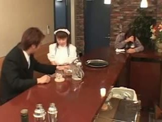 Busty Japanese waitress fucked in public