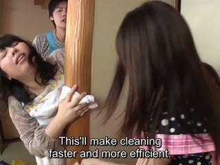 Subtitled ญี่ปุ่น risky เพศ ด้วย voluptuous แม่ ใน