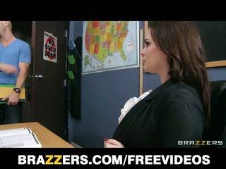 Si rambut coklat guru tessa lane tegar seks pada jadual