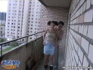 Young roller-girl fucks with a stranger round the corner Video