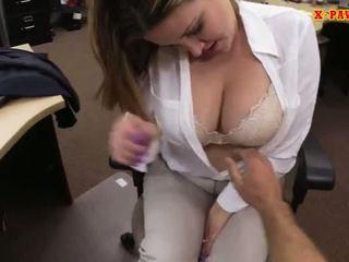 Foxy to ngực kinh doanh phụ nữ screwed lên vì tiền