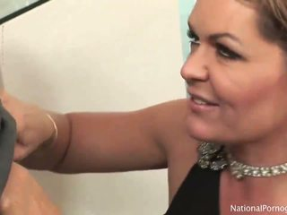 Very classy and seductive MILF bitch slurps on giant schlong