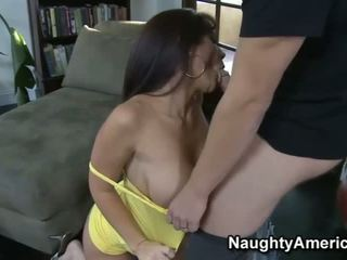 Foxy big titted wife rides on top of huge boner