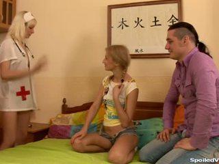 Virgin having threesome sex