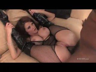 Joslyn James with legs pushed back with huge black cock slamming twat
