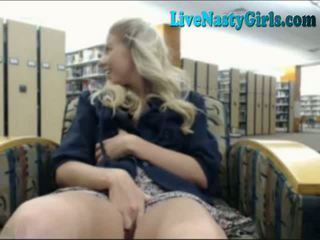 Hot Blonde Dildos Pussy In Library 1