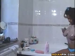 Cute Indian Girl Washing Her Body In The Tub
