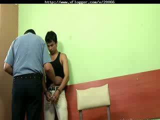 Boy is interrogate and have to cum by gay cop
