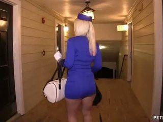 Seksual air hostess gets fucked