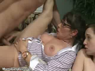 MILF Gets Fucked By babe While Daughter Watches