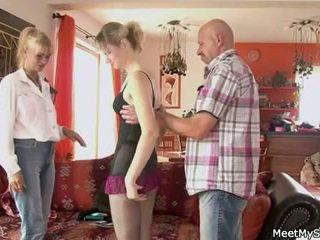 Old mom and dad seduce and bang son&#0...