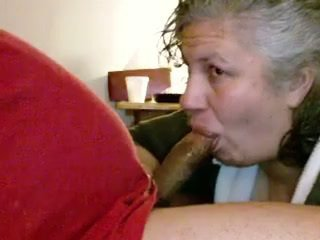 Married Mature Neighbor Gags on my cock