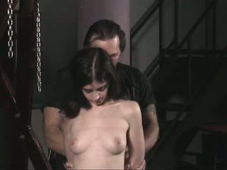 Sad slave nude girl in rope gets sexually abused