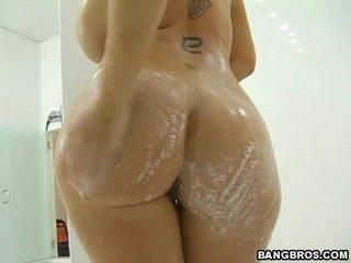 hardcore sex, velká prsa, sprcha
