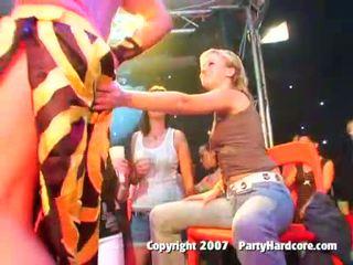 Drunk club teen girls in wild CFNM group sex action