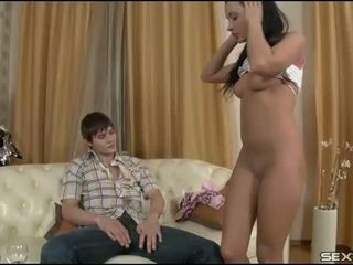 Girlie bounds on fat dick