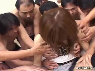 Japanese babe touched by many men uncensored