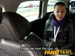 FakeTaxi Black haired babe fucks the cab driver