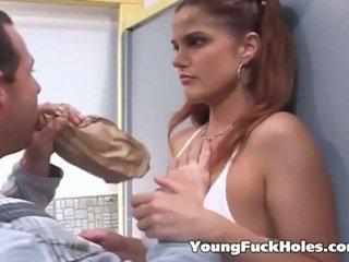 brunetka, młody, assfucking