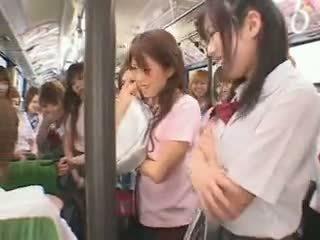 תלמידת בית ספר אוטובוס fuckfest מצונזר