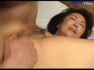 Milf with tiny tits fingered licked by...