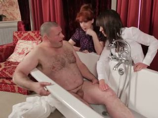 Small penis dude being humiliated by two kinky