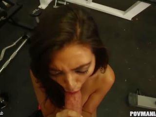 brunette, sucking cock, big boobs