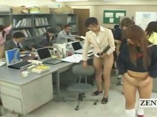 Subtitled hälfte nackt bottomless japanisch schule büro