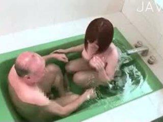 japonais, gros seins, douche
