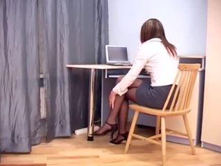 Secretary fucking in sheer crotchless hosiery