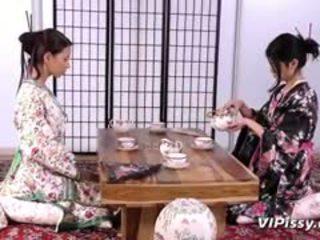 Horny Geisha Sluts Spray Each Other With Warm Piss And Use