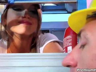 Horny blonde chick drilled hard in the ass in a trailer