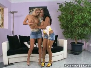 Bitchy Girlfriends Kyra And CAndy Heats Up Jointly Bare For One Lezbo Actionion