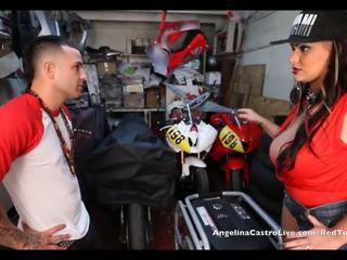 Angelina castro takes cumload i bike garage!