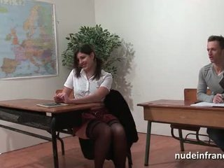 Sexy french arab student ass fucked in threeway by her classmates