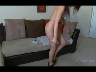 Kristin cute brunette girl anal and pussy toying and having orgasm