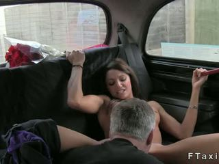 Cop And Taxi Driver Fucking Brunette Amateur On Backseat