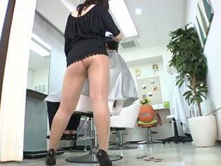 Reiko nakamori セクシー barber で パンスト