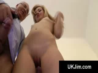 Tight blond hotty bends to get her pussy fucked from behind