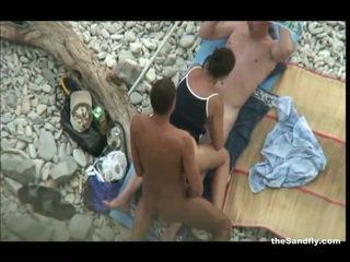 voyeur, plaža, hot nudism