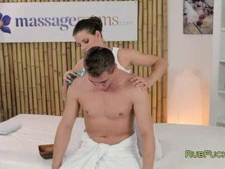 Hot masseuse oils and fucks dick on massage table