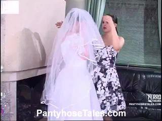 bruid, video, lesbische seks