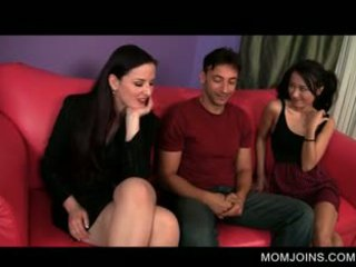 Mom Strips To Fuck In Threesome With Daughter
