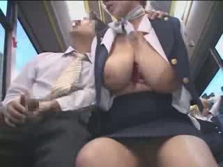 거유 미국 사람 비탄 모색 에 일본 공공의 버스 비디오