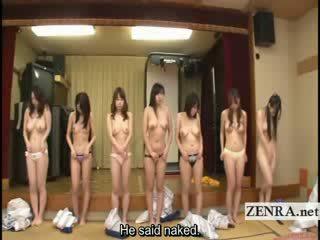 Subtitled ryhmä of japanilainen milfs stripping varten racing peliä