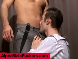 Business guys loving foreplay