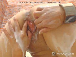 squirting, masturbation, creampie