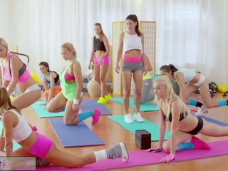 Fitness rooms big boobs lesbians have rampant gim.