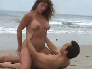 große brüste, strand, brünetten