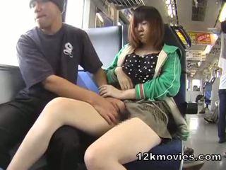 Japonesa público asiática sexo en la tren